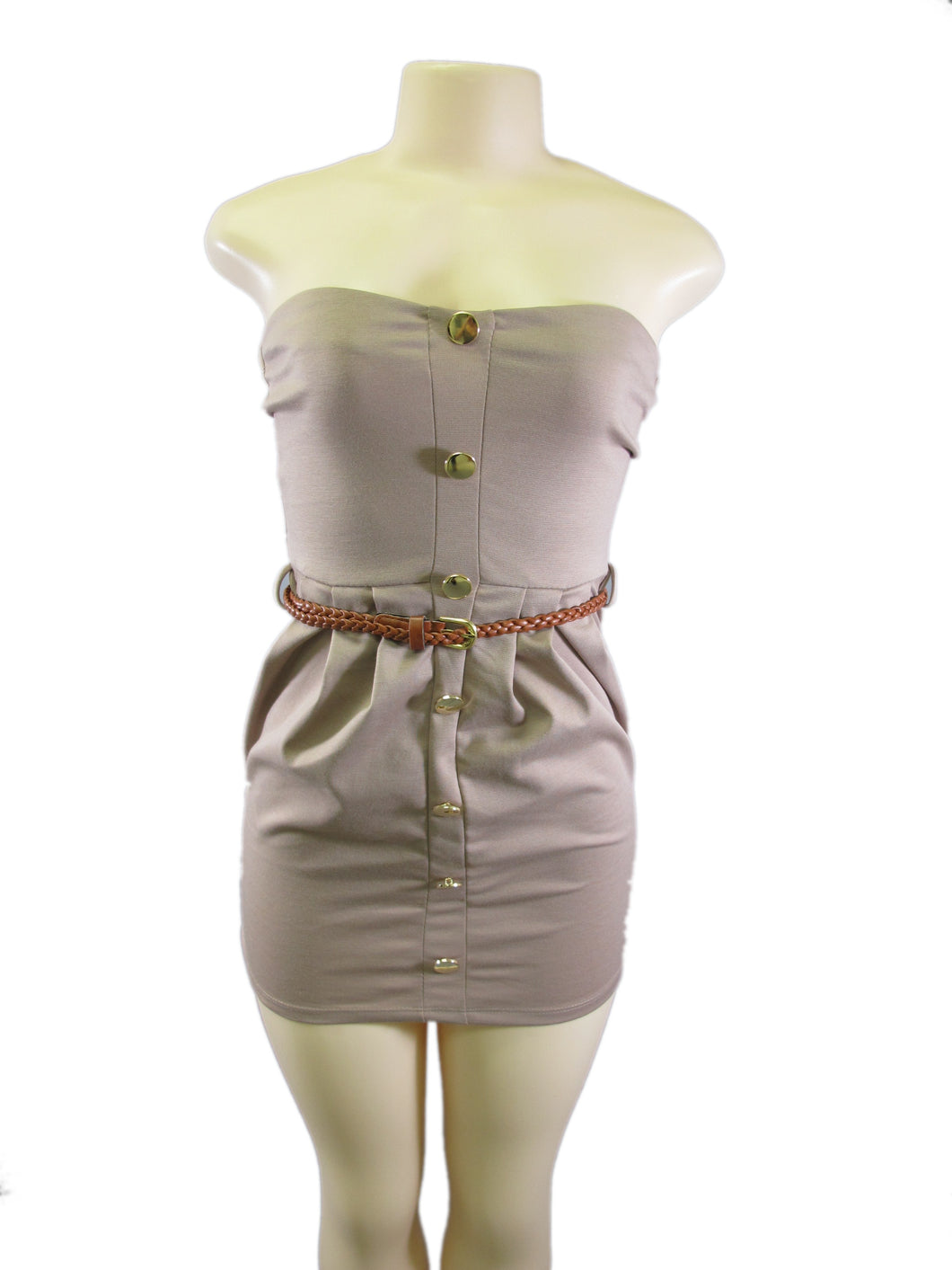 Taupe Strapless Gold Button Down Cinched Waistline Faux Leather Belt Lady Dress