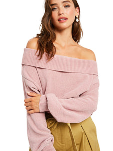 Chenille Off Shoulder Ribbed Sweater