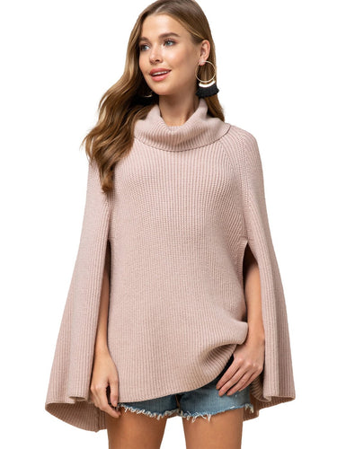 Anna-Kaci Blush Solid Sweater Cape Knit With High Cowl Neckline