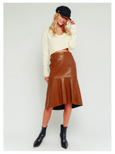 Load image into Gallery viewer, Faux Leather A-line Midi Skirt