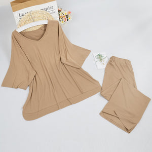 Wide Neck Shirt and Crop Pants Lounge Set