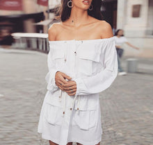 Load image into Gallery viewer, Off Shoulder Adjustable Travel Button Down Dress