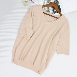Knitted V-Neck Short Sleeve Top