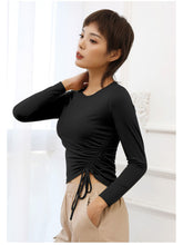 Load image into Gallery viewer, Long Sleeve Side Gathered Cinched Top
