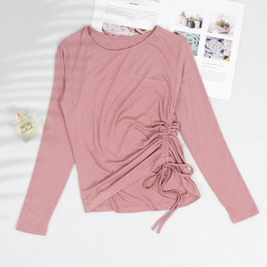 Long Sleeve Side Gathered Cinched Top