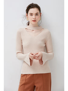 Trumpet Sleeve V Opening Knitted Top