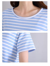 Load image into Gallery viewer, Summer Striped Short Sleeve Pajamas Dress