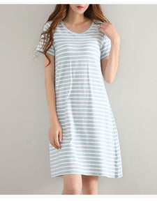 Summer Striped Short Sleeve Pajamas Dress