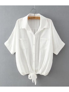 Cotton Linen Knotted Tie Top