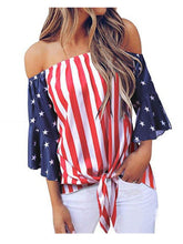 Load image into Gallery viewer, Trumpet Sleeve Tie-Front American Flag Blouse