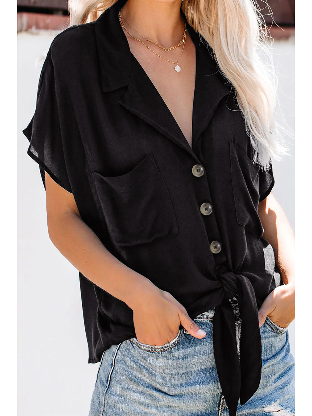 Light Weight Tie Front Coverup Top