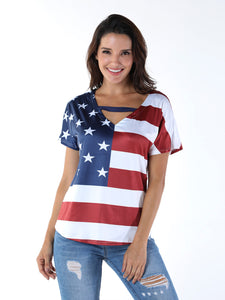 All American Girl V Neck Top