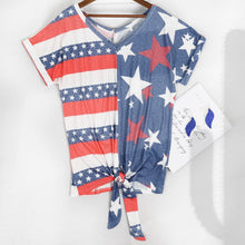 Load image into Gallery viewer, V Neck Flag Print Tie Front