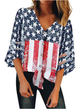 Load image into Gallery viewer, V-Neck Mesh Insert American Flag Printed Blouse