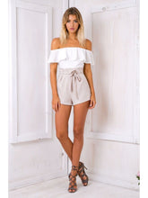 Load image into Gallery viewer, Off Shoulder Jumpsuit Ruffled Bow Tie Shorts Set