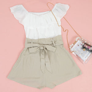 Off Shoulder Jumpsuit Ruffled Bow Tie Shorts Set