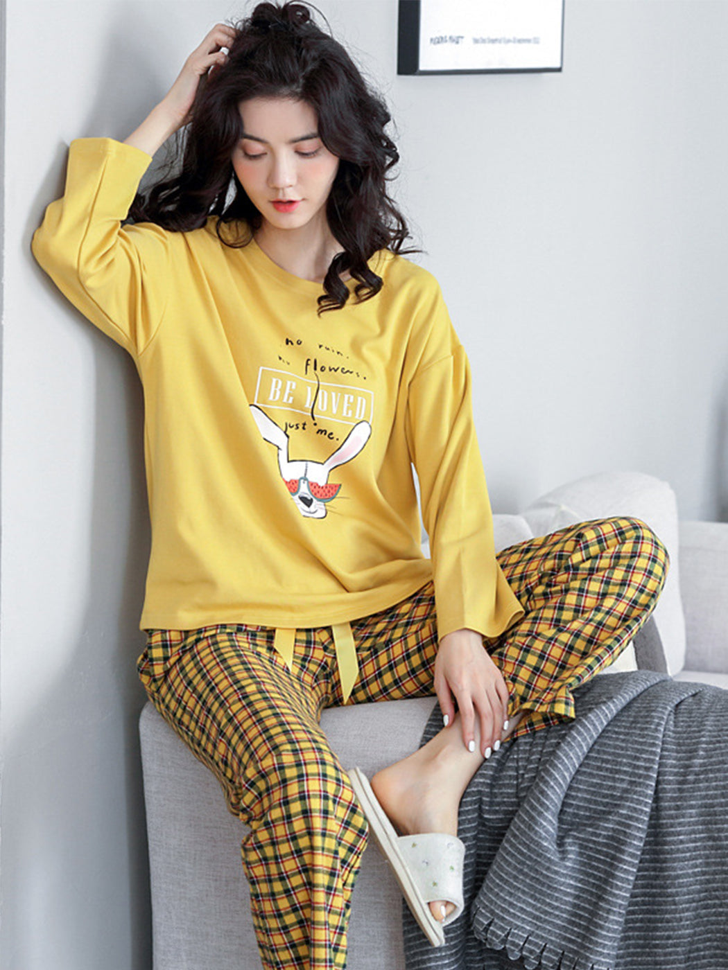 Cotton Long Sleeve Cartoon Home Clothes