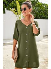 Load image into Gallery viewer, Vintage Flare Woven Button Down Dress