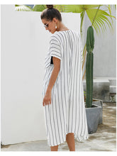 Load image into Gallery viewer, Beach Stripe Short Sleeve Kimono