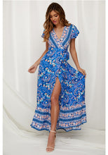 Load image into Gallery viewer, Flower Long Maxi Wrap Dress