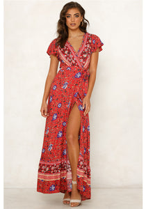 Flower Long Maxi Wrap Dress