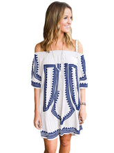 Load image into Gallery viewer, Printed Off Shoulder Summer Short Dress