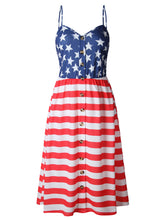 Load image into Gallery viewer, Independence Day Flag Dress With Suspenders And Buttons