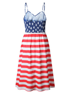 Independence Day Flag Dress With Suspenders And Buttons