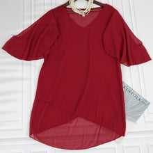 Load image into Gallery viewer, V-neck Ruffle Sleeve Chiffon Top