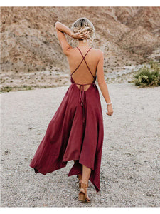 Handkerchief  Maxi Backless Strap Dress