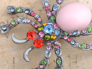 Artistic Colorful Austrian Bead Spider Pin Brooch