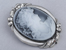 Load image into Gallery viewer, Colored Grey Vintage Cameo Lady Brooch Pin