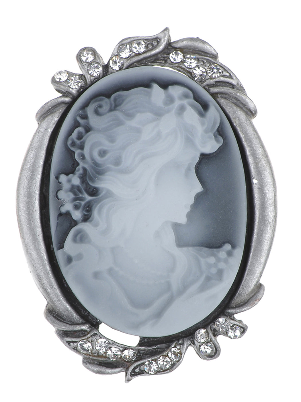 Colored Grey Vintage Cameo Lady Brooch Pin