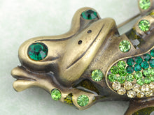 Load image into Gallery viewer, Vintage Reproduct Waving Hand Winking Pond Frog Pin Brooch