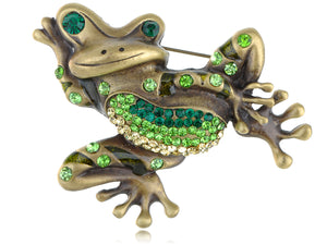 Vintage Reproduct Waving Hand Winking Pond Frog Pin Brooch