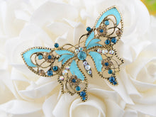 Load image into Gallery viewer, Antique Aquamarine Blue Colored Butterfly Brooch Pin