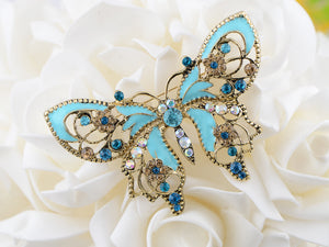Antique Aquamarine Blue Colored Butterfly Brooch Pin