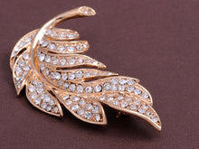 Load image into Gallery viewer, Feather Leaf Pin Brooch With Locking Back Closure