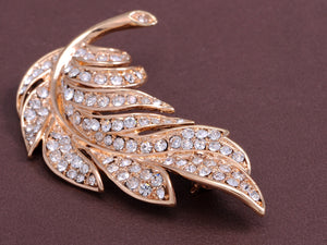 Feather Leaf Pin Brooch With Locking Back Closure