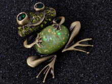 Load image into Gallery viewer, Brass Peridot Green Colored Animal Smiley Frog Brooch Pin