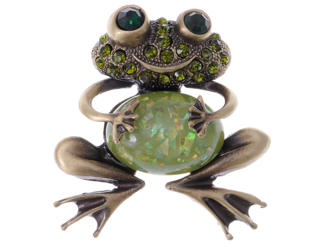 Brass Peridot Green Colored Animal Smiley Frog Brooch Pin