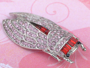 Light Pink Big Cicada Bug Insect Brooch Pin