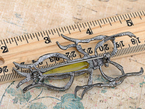 Gun Light Green Water Strider Insect Bug Brooch Pin