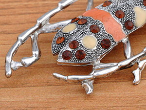 Enamel Topaz Beetle Bug Insect Pin Brooch