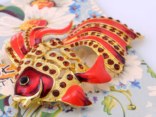 Load image into Gallery viewer, Rare Gorgeous Ruby Epoxy Enamel Ruby Fish Pin Brooch