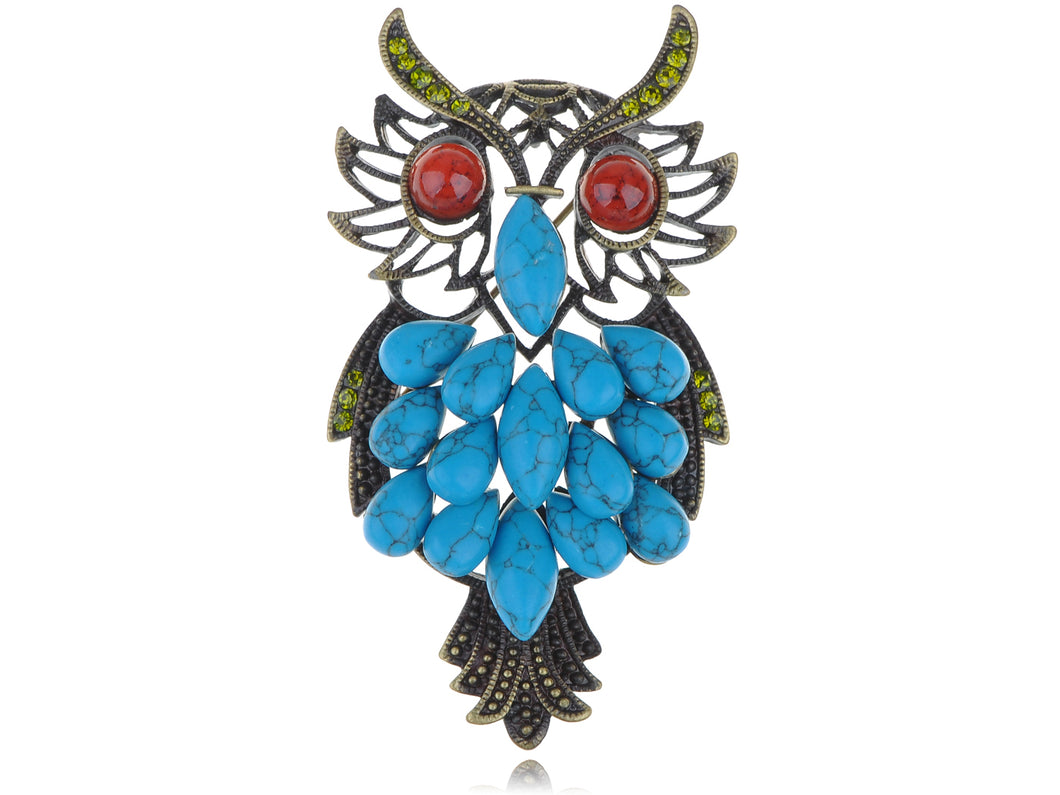 Blue Enamel Brooch Pin Owl Breastpin Diamond Broochpin Wedding & Banquet & Bouquet