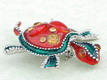 Load image into Gallery viewer, Ruby Emeraly Enamel Paint Bead Turtle Pin Brooch