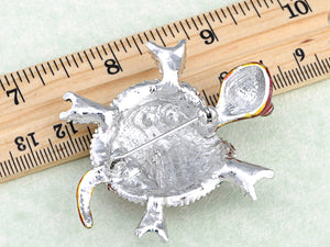 Ruby Emeraly Enamel Paint Bead Turtle Pin Brooch