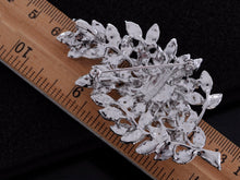 Load image into Gallery viewer, Formal Luminous Encrusted Floral And Olive Leaf D Brooch