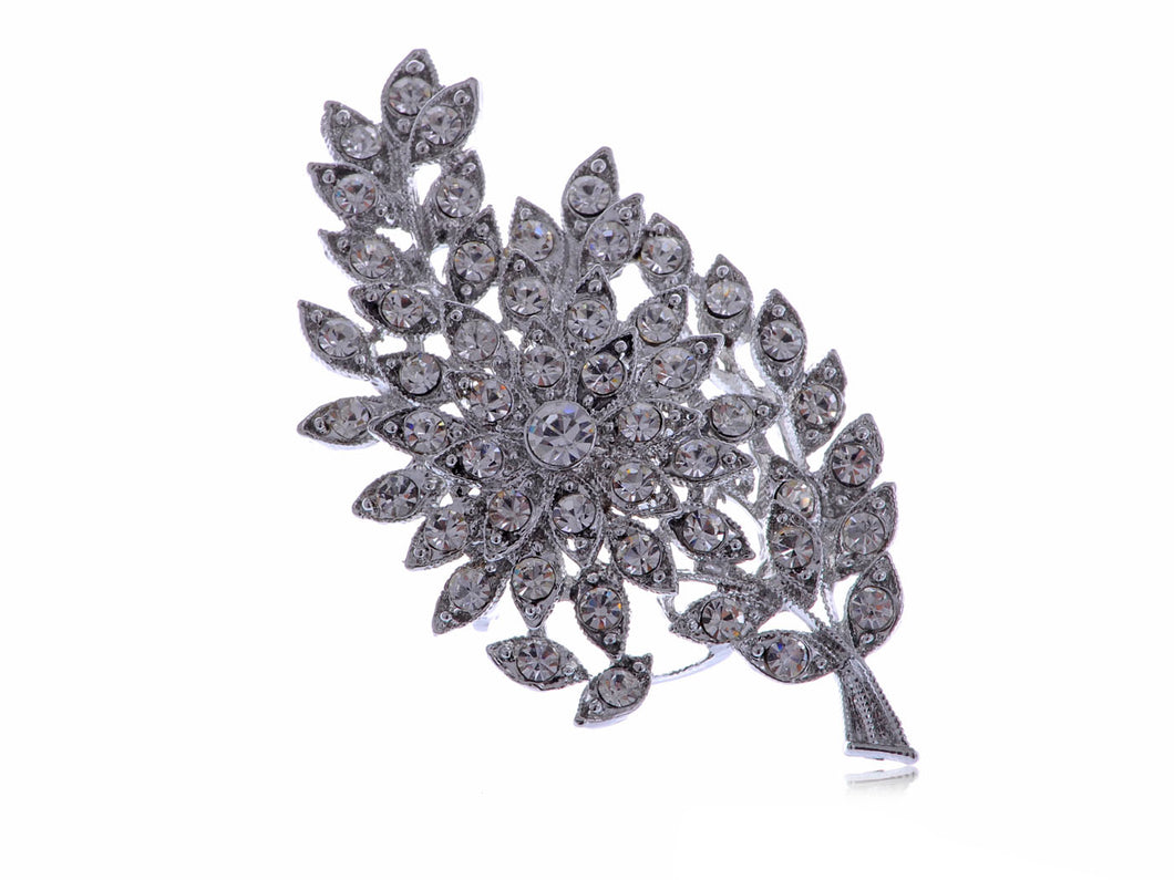 Formal Luminous Encrusted Floral And Olive Leaf D Brooch